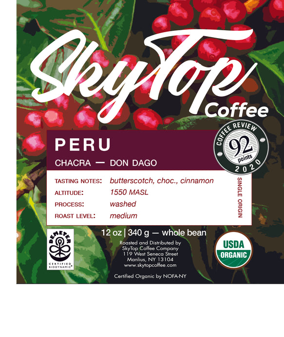 PERU - CHACRA -DON DAGO **92 Rating from Coffee Review**