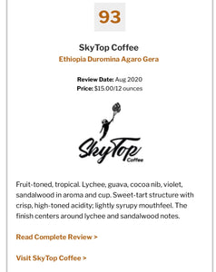 ETHIOPIA - DUROMINA **93 Rating from Coffee Review** SOLD OUT UNTIL NEXT YEAR