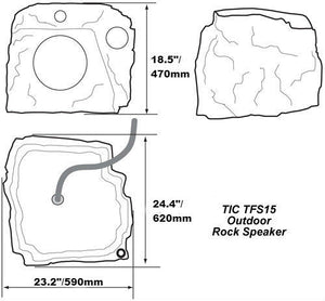 "TFS15 - 10"" Premium 3-Way Outdoor Weather-Resistant Rock Speaker"