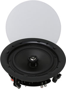 TIC MC8O28 8'' Ceiling Speakers W/Magnetic Grill(Pair) Perfect for Damp and Humid Indoor/Outdoor Placement - Bath, Kitchen, Covered Porches.