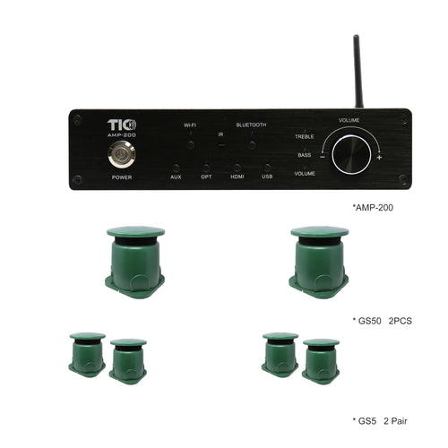 AMP200 Wifi(AirPlay2)&Bluetooth5.0 4*100W Amplifier With 2*GS50 Subwoofers+2*GS5   (pair)