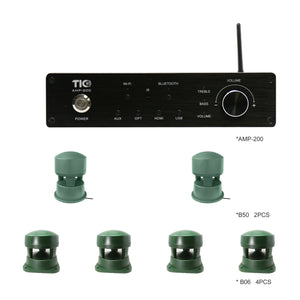 AMP200 Wifi(AirPlay2)&Bluetooth5.0 4*100W Multi-Room Amplifier With 2PCS B50 + 4PCS B06