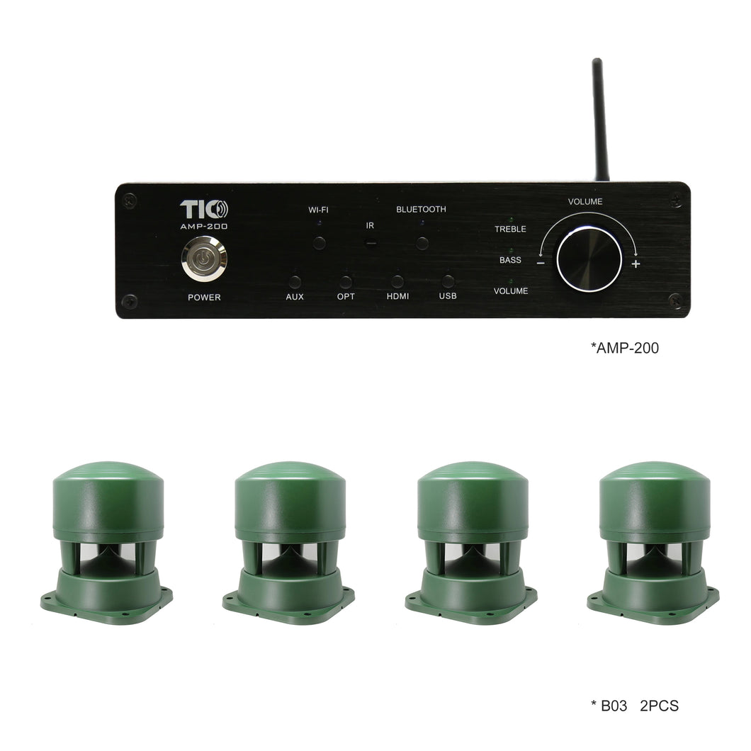 AMP200 Wifi(AirPlay2)&Bluetooth5.0 4*100W Multi-Room Amplifier With 4PCS B03