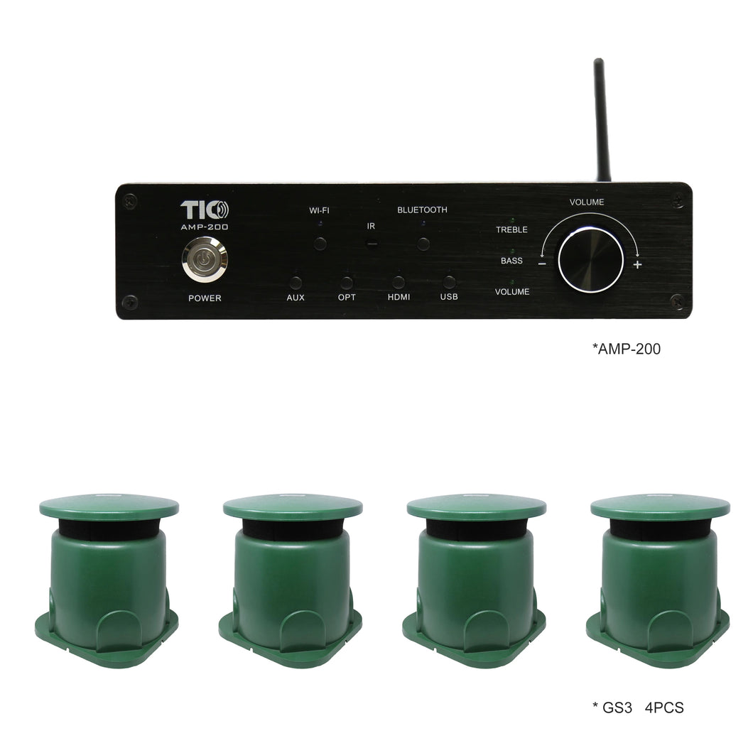 AMP200 Wifi(AirPlay2)&Bluetooth5.0 4*100W Multi-Room Amplifier With 4PCS GS3