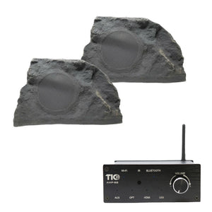 "AMP88 Wifi(AirPlay2)&Bluetooth5.0 2*50w Multi-Room Amplifier With TFS10 - 8"" Professional Outdoor Weather-Resistant Coaxial Rock Speaker"