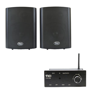"AMP88 Wifi(AirPlay2)&Bluetooth5.0 2*50w Multi-Room Amplifier With PAT5 - 5"" Indoor/Outdoor 2-Way Patio Speakers (pair)"