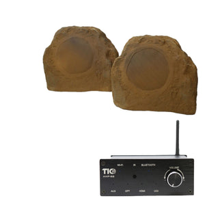 "AMP88 Wifi(AirPlay2)&Bluetooth5.0 2*50w Multi-Room Amplifier With TFS5 6.5"" Outdoor Weather-Resistant Rock Speakers (Pair)"