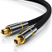 Load image into Gallery viewer, TOSLINK-5FT  Optical Audio Cable, CableCreation Fiber Digital Optical SPDIF Toslink Cable with Metal Connectors for Home Theater, Sound Bar, VD/CD Player, TV & More, Black&Gold