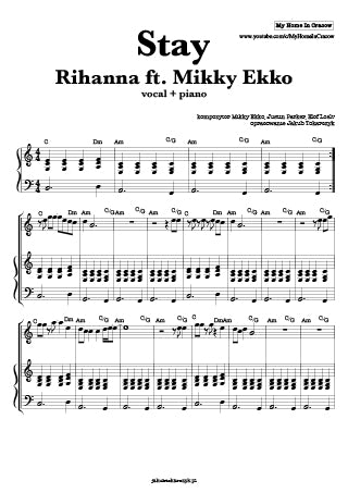 stay rihanna mikky ekko nuty piano sheets notes pdf