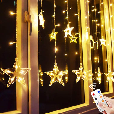 12 Stars Remote Window Curtain String Lights
