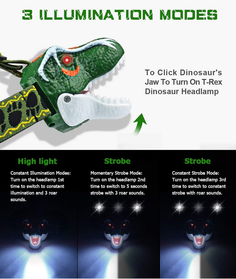 T-Rex Dinosaur Headlamp for Kids