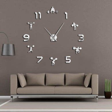 Weightlifting Frameless DIY Wall Clock