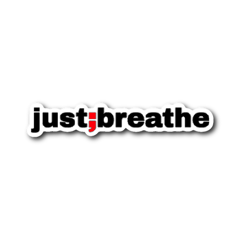 just breathe ; die-cut sticker