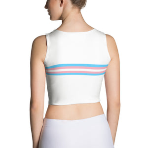 trans pride ; Front & Back Sublimation Crop Top ; White