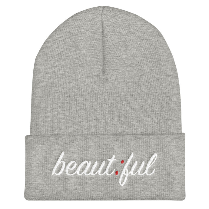 beautiful ; Embroidered Cuffed Beanie