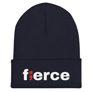 fierce ; Embroidered Cuffed Beanie