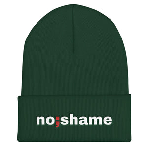 no shame ; Embroidered Cuffed Beanie