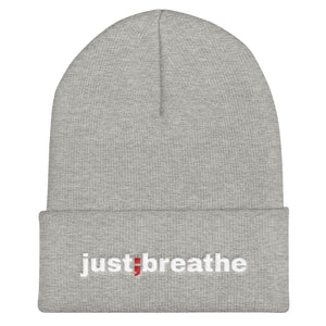 just breathe ; Embroidered Cuffed Beanie
