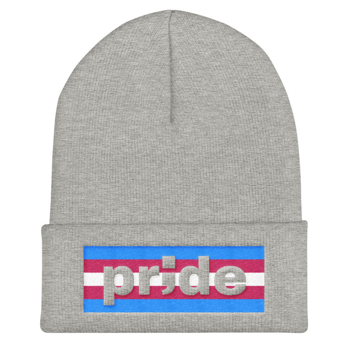 trans pride ; Embroidered Cuffed Beanie