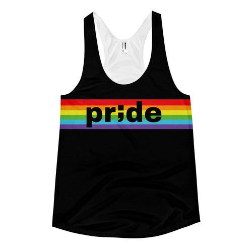pride ; Front & Back Sublimation Women's racerback tank ; Black