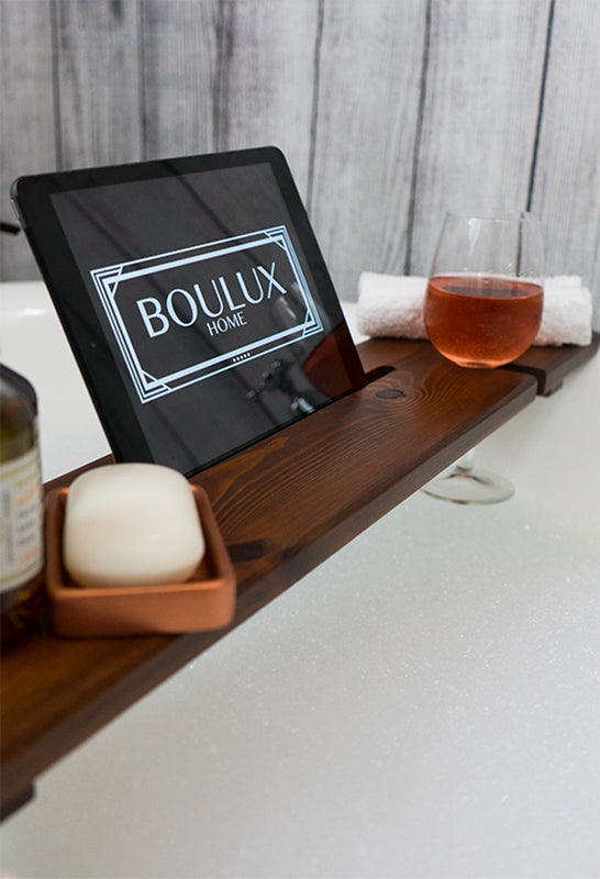 Dark Oak & Copper bath tray by boulux home