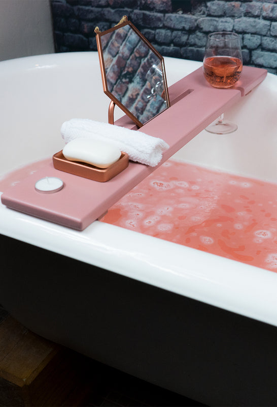 Dusky Pink & Copper bath tray by boulux home