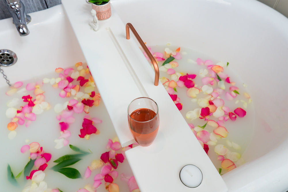 White & Copper bath tray by boulux home
