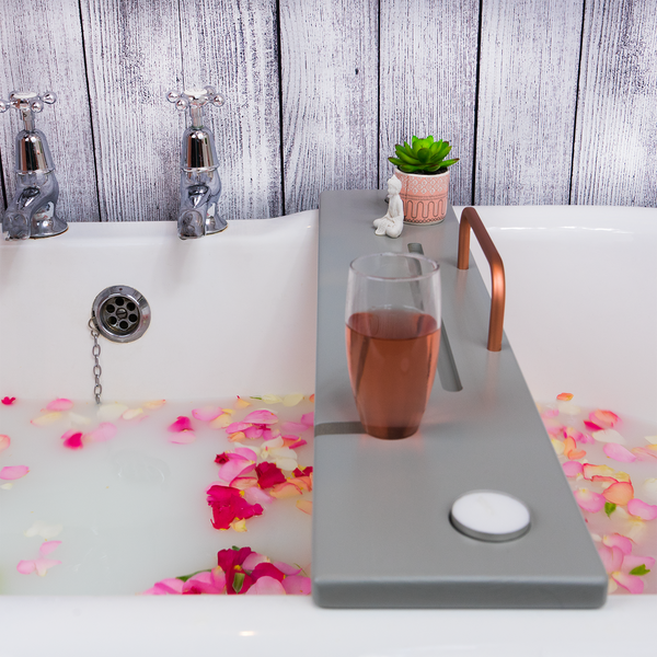 Light Grey & Copper bath tray by Boulux Home