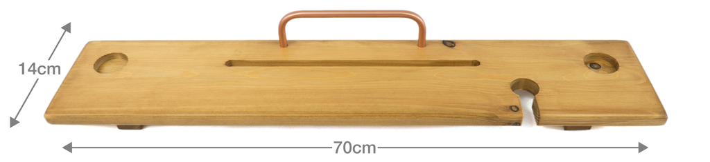 Light Oak & Copper Bath Board Caddy - Boulux Home