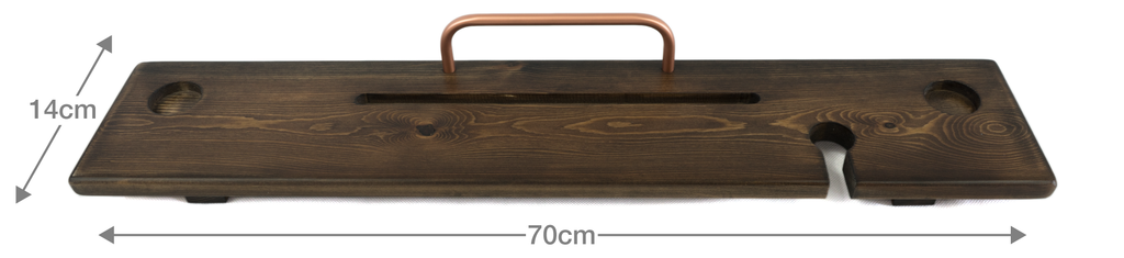 Dark Walnut & Copper Bath Board Caddy - Boulux Home