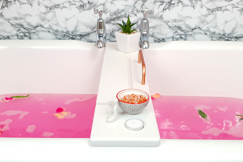 Cotton White & Copper Bath Tray - Boulux Home
