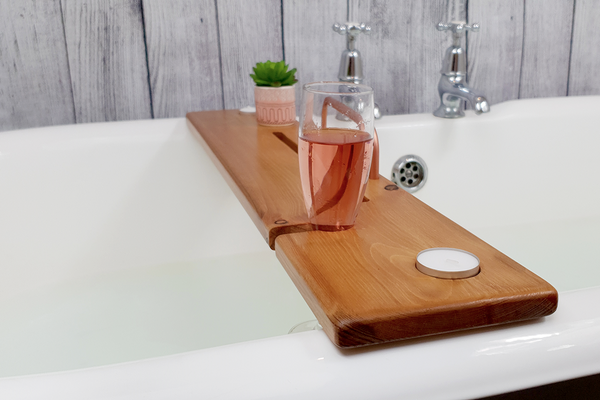 Light Oak & Copper Bath Tray - Boulux Home