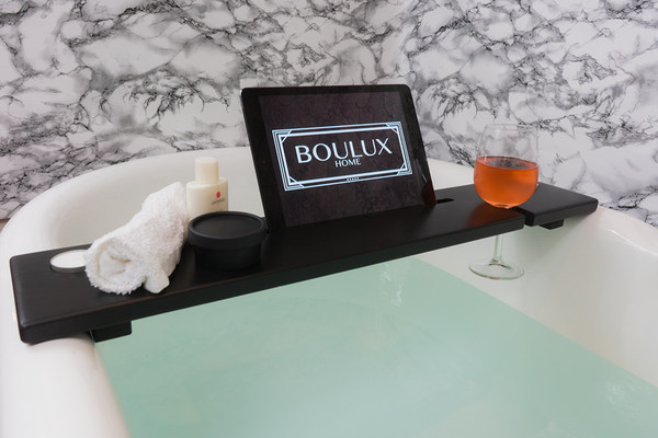 Black & copper, ipad, bath tray by Boulux Home