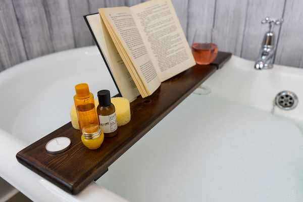 Dark Walnut & Copper Bath Tray - Boulux Home