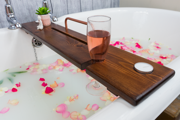 Dark Oak & Copper Bath Tray - Boulux Home