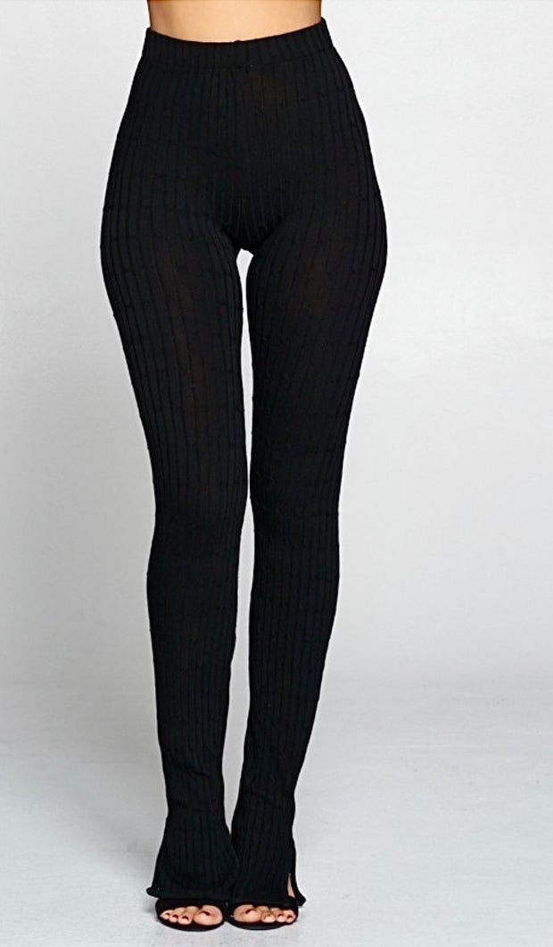 Shawny Ribbed Leggings - Black