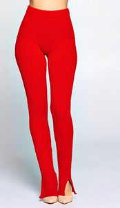 Shawny Ribbed Leggings - Red