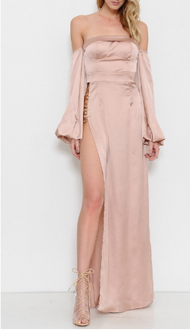 Marcia Satin Dress - Rose