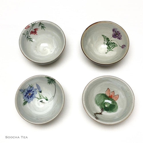 Hand-painted Flower Cups