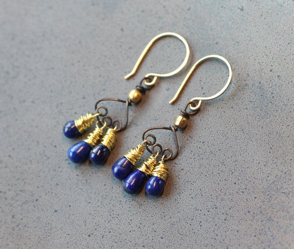 Lapis Lazuli Fringe Earrings