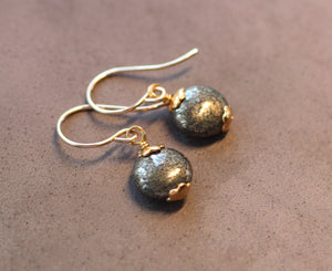 Pyrite Coin Bead Earrings