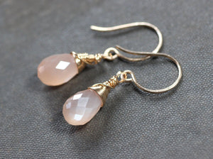 Faceted Peach Moonstone Teardrop Earrings