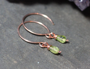 Tiny Peridot Hoop Earrings