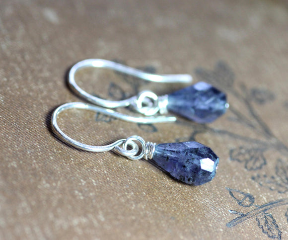 Faceted Iolite Teardrop Earrings