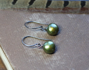 Olive Green Pearl Earrings
