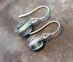 Green Fluorite Pillow Earrings