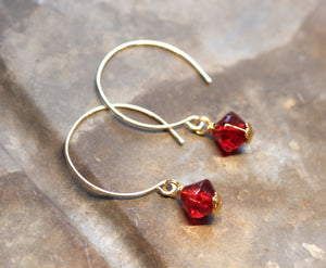 Bright Red Glass Bead Hoop Earrings