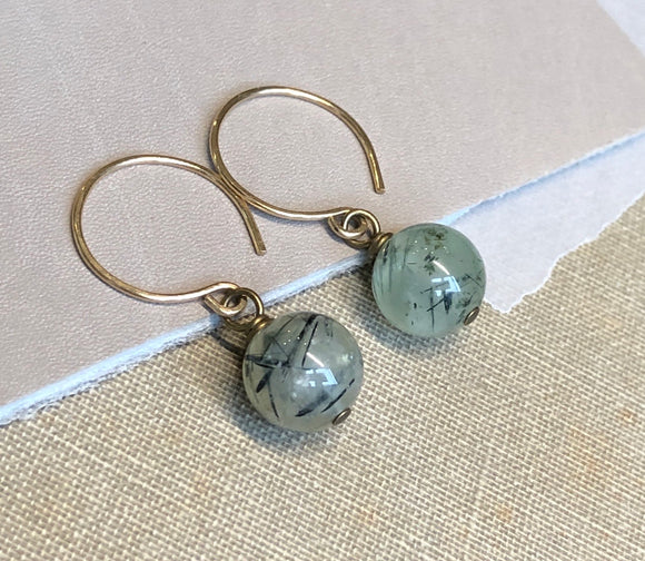 Prehnite Ball Bead Hoop Earrings
