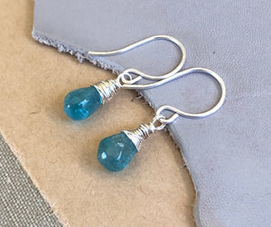 Aqua Apatite Teardrop Earrings
