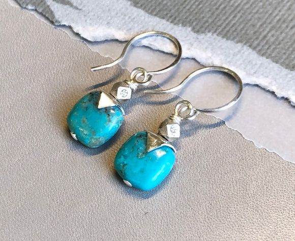 Turquoise Earrings with Pointy Sterling Silver Caps